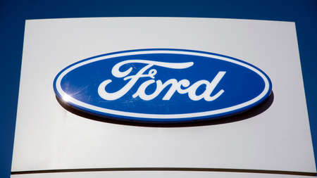 Warsaw, Poland. 15 March 2020. Sign Ford. Company signboard Ford.