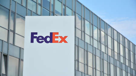 Warsaw, Poland. 2 May 2020. Sign FedEx. Company signboard FedEx.