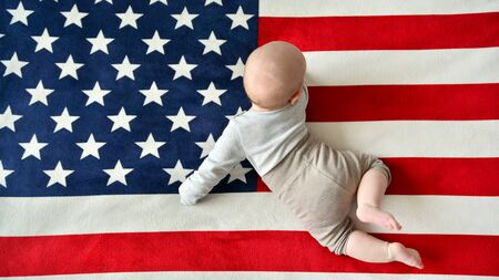Baby on American flag background
