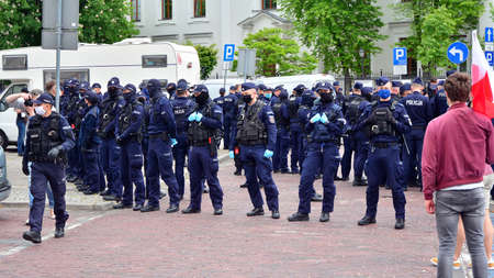 Warsaw, Poland. 23 May 2020. Anti-government protests on the streets of Warsaw, large branch of the Polish police. Police forces before demonstration.