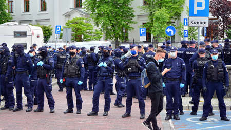 Warsaw, Poland. 23 May 2020. Anti-government protests on the streets of Warsaw, large branch of the Polish police. Police forces before demonstration. Editorial