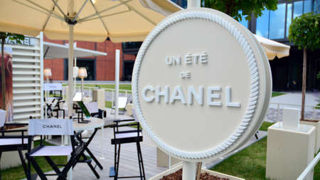 Warsaw, Poland. July 12, 2020. Sign Chanel. Company signboard Chanel. 新聞圖片