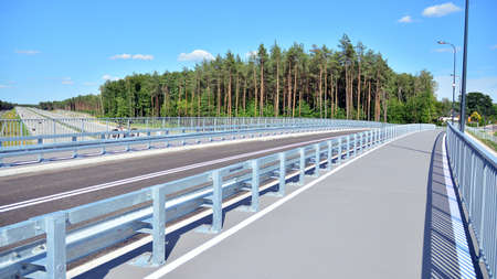 New construction of a crash barrier at a new highway