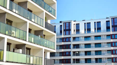 Architectural details of modern apartment building. Modern european residential apartment building complex.