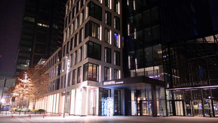 Warsaw, Poland. 30 November 2020. Modern office building Varso Place in night. Editorial