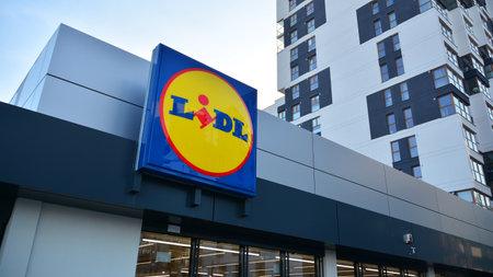 Warsaw, Poland. 27 December 2020. Sign Lidl. Company signboard Lidl.