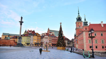 Warsaw, Poland. 28 December 2020. Old town. The Royal Castle and Sigismund's Column called Kolumna Zygmunta Editöryel