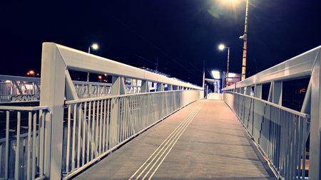 Night at the train station. Retro filter. Stok Fotoğraf