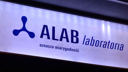 Warsaw, Poland. 10 January 2021. Sign Alab Laboratoria. Company signboard Alab Laboratoria.