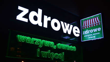 Warsaw, Poland. 10 January 2021. Sign Healthy Vegetables, Fruits. Company signboard Healthy Vegetables, Fruits.
