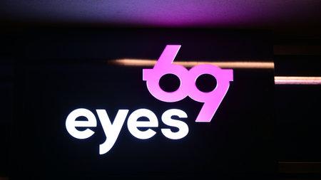 Warsaw, Poland. 10 January 2021. Sign Eyes 69. Company signboard Eyes 69.