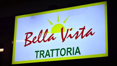 Warsaw, Poland. 10 January 2021. Sign Bella Vista Trattoria. Company signboard Bella Vista Trattoria.