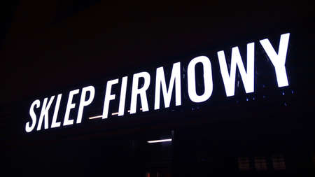 Warsaw, Poland. 10 January 2021. Sign Firmowy Store. Company signboard Company Store.