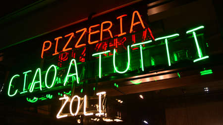 Warsaw, Poland. 10 January 2021. Sign Pizzeria Ciao a Tutti Zoli. Company signboard Pizzeria Ciao a Tutti Zoli.