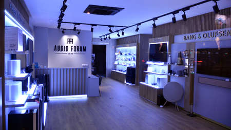 Warsaw, Poland. 10 January 2021. Inside Denon electronic store. Denon sound systems. Hi-fi systems in shop for sound systems. Professional hi-fi audio equipment.
