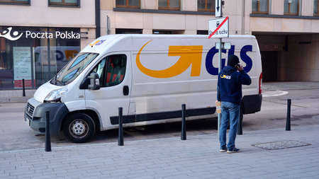 Warsaw, Poland. 11 January 2021. GLS courier delivers shipments to the customer. GLS is one of the largest postal shipping company on the world. Editöryel