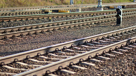 Railway tracks in a rural scene in a sunny day. Banque d'images