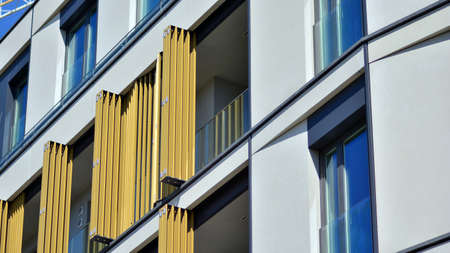 New modern architectural building house. Modern facade of the apartment building.