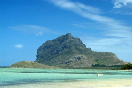 Le Morne Brabant Mountain, a World Heritage site, viewed from La Prairie beach, Mauritius Stock Photo - 5345962