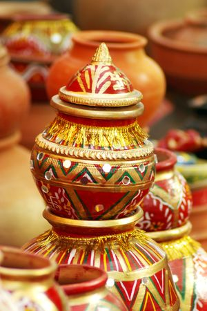 Close-up of pottery showing the intricate decorations, city of Jaipur, India Stock Photo