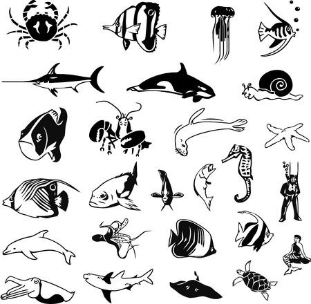 maritimo: silhouetts de la vida de qqua Vectores