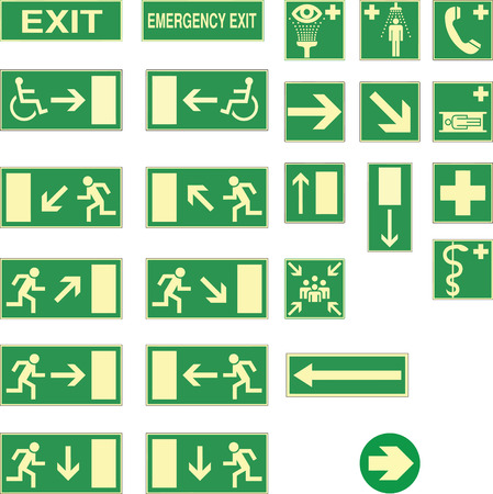 emergency: emergency exit and other sings