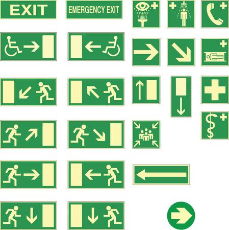salida de emergencia: salida de emergencia y otro canta Vectores