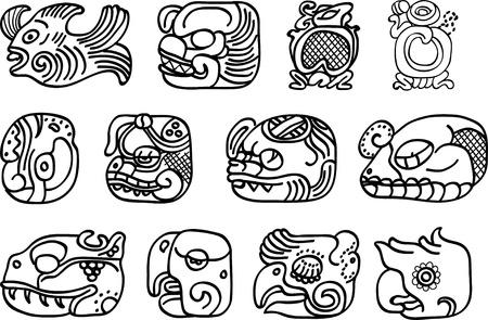 hieroglieven: Mexicaanse of maya motieven