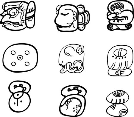 Mexican, aztec or maya motifs, glyphs Stock Vector - 9873639