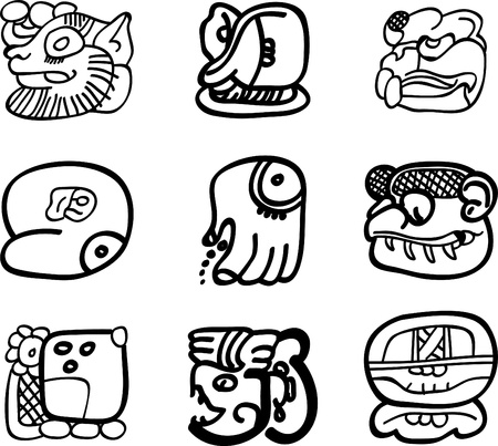 Mexican, aztec or maya motifs, glyphs