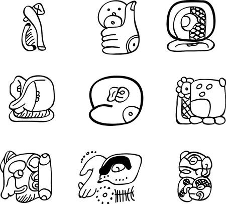Mexicaanse, Azteekse of maya motieven, glyphs