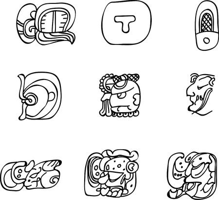 Mexican, aztec or maya motifs, glyphs Vector