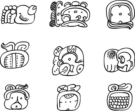 hieroglieven: Mexicaanse, aztec of maya motieven, glyphs