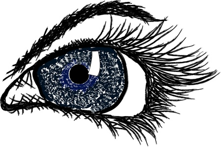 Prachtige schilderij van een menselijk oog Stock Illustratie