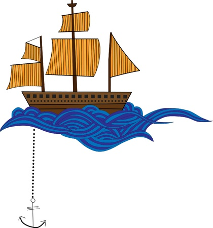 nautical flags: Ship with waves