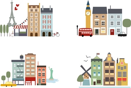 tall buildings: Big cities with landmarks: Paris, London, New York and Amsterdam