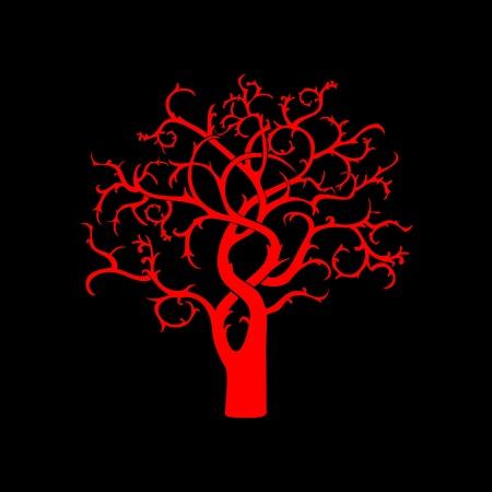 Red curvy tree silhouette