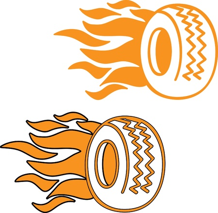 car tire: Flaming band logo of icoon Stock Illustratie