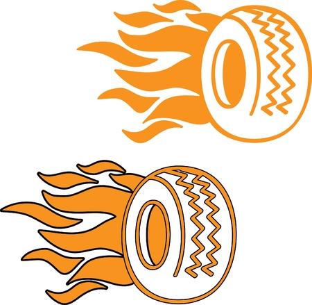 rodamiento: Neumáticos en llamas logo o icono Vectores