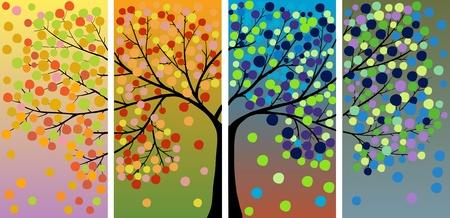 Vier seizoen boom decoratie Stock Illustratie