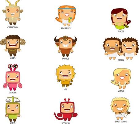 Cartoon stijl zodiac zingt Stock Illustratie