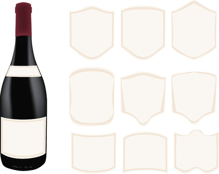 dark bottle with various label samples Vector