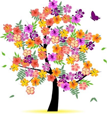 seasonal symbol: 4 estaciones de �rboles - primavera Vectores