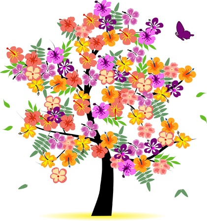 seasonal symbol: 4 seasons tree - spring