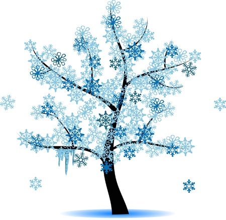 snow fall: 4 seasons tree - winter Illustration