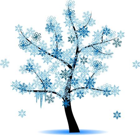 4 seasons tree - winter Vettoriali