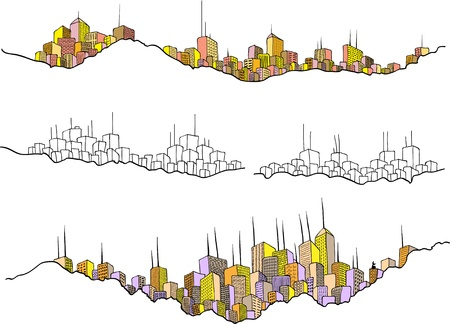 Drawing of several cityscapes