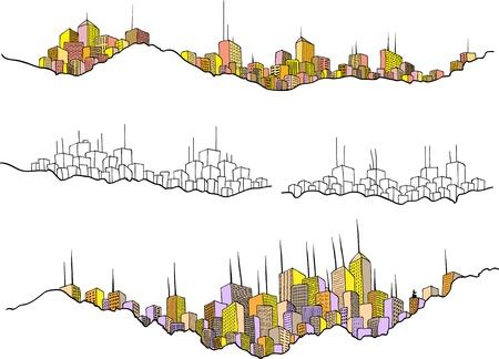 Tekening van een aantal stadsgezichten