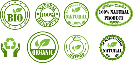 Natural and bio stamps Vector