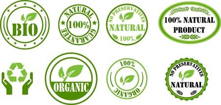 Natuurlijke en bio postzegels Stock Illustratie